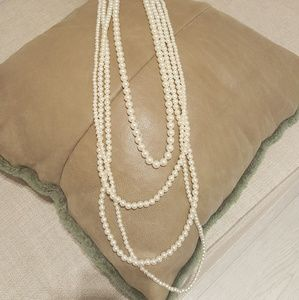 Nordstrom brass plum faux pearl necklace